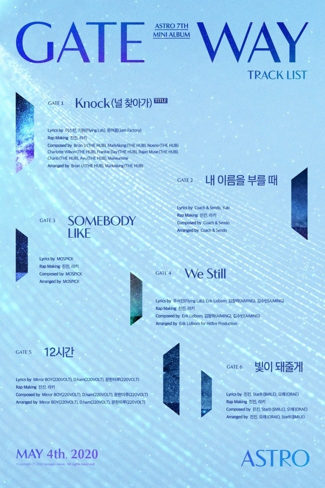 """""""Comeback"""" Astro, tracklist released...Title song """"Knock (Going to You)"""""""