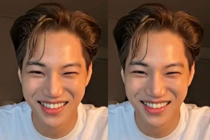 Exo Kai's dazzling recent status with his wet hair and legendary beauty.