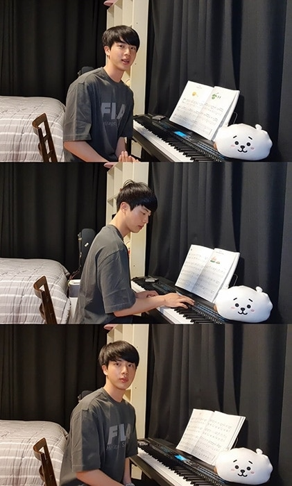 Jin of BTS, have a new hobby - Play the piano live on YouTube