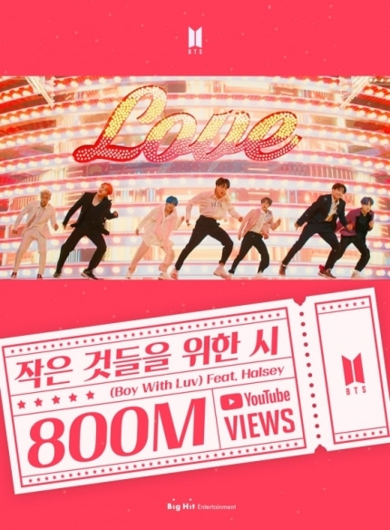 BOY WITH LUV (Feat. Halsey) SURPASSED 800M VIEWS